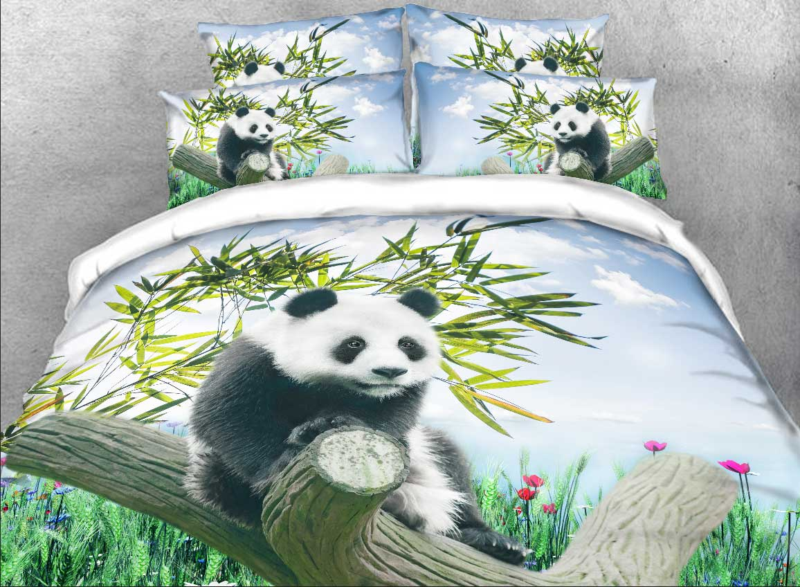 Vivilinen Panda on a Branch Printed Cotton 4-Piece 3D Bedding Sets/Duvet Covers