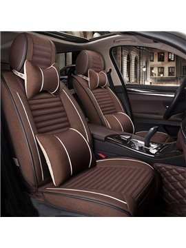 Solid Color Luxury Top Fabric Leather Universal Car Seat Covers