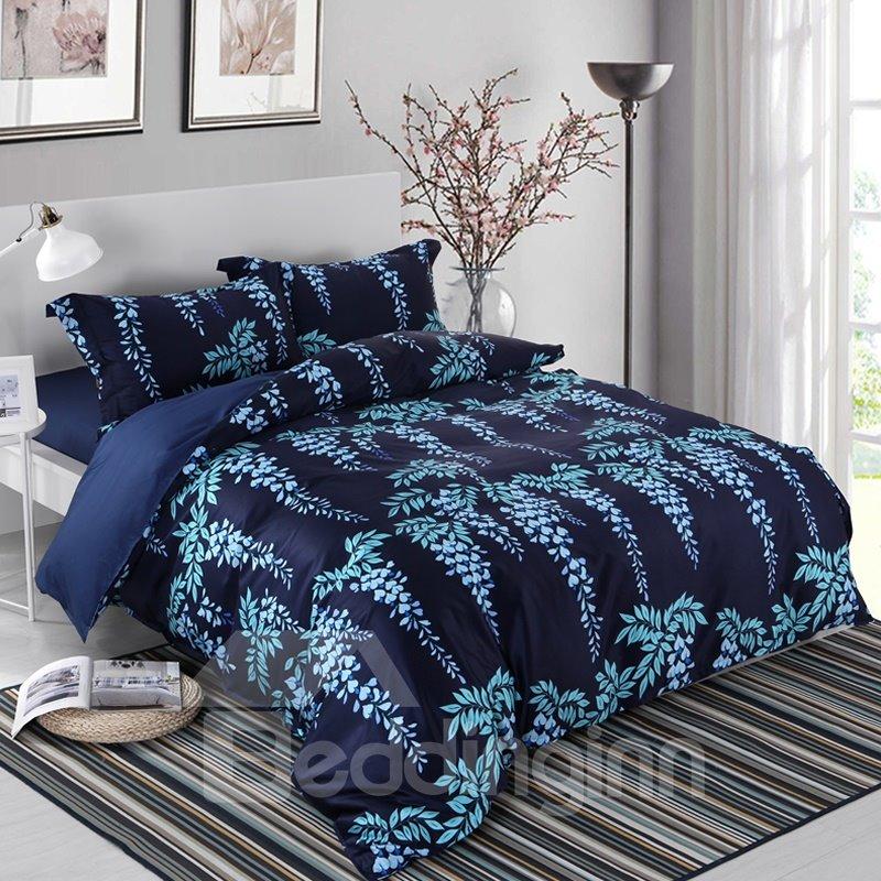 Designer 60S Brocade Silver Leaves Strings 4-Piece Cotton Bedding Sets/Duvet Cover