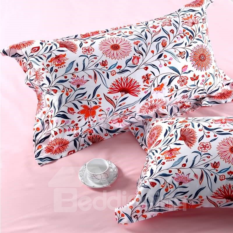 Designer 60S Brocade Orange Flowers Blooming Pattern Pastoral Style 4-Piece Cotton Bedding Sets