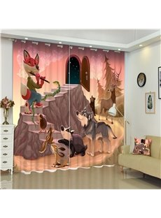 3D Wolf Fox and Rabbit Printed Animal Party Living Room and Children Curtain