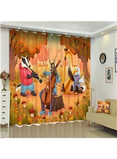 3D Wolf Elk and Chicken Dancing with Music Printed Animal Paradise 2 Panels Custom Curtain