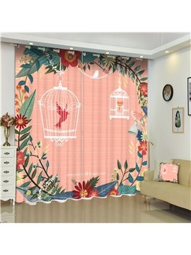 3D Lovely Birds in Cages Flowers Surrounded with Orange Background Printed Polyester Curtain
