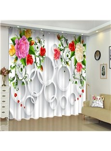 White Round Circles and Bright Colored Blossoms 2 Pieces Living Room 3D Curtain