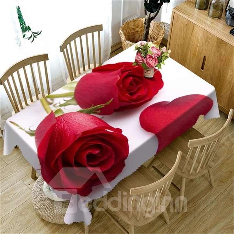 Lively Red Roses Fresh and Romantic Style Thick Polyester Oil-Proof Table Cloth