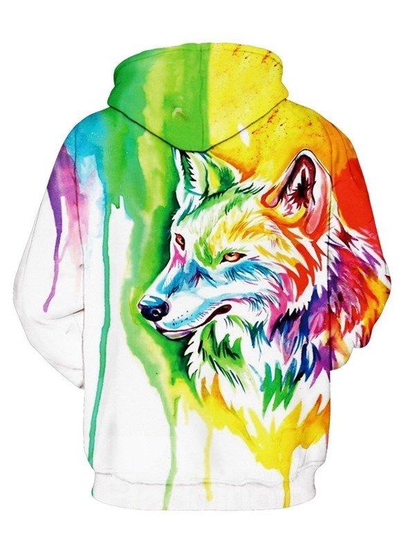 daee9c024208 Long Sleeve Colorful Wolf Pattern 3D Painted Hoodie - beddinginn.com