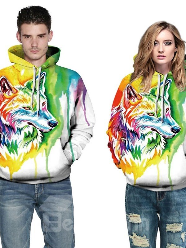 Long Sleeve Colorful Wolf Pattern 3D Painted Hoodie