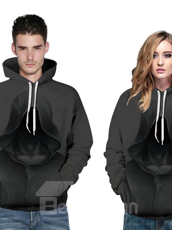 Long Sleeve Mysterious Person with Hat 3D Halloween Pattern Hoodie