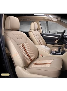 Luxurious High-Grade Leather Mixed Knitting  5 Seats Custom Car Seat Covers