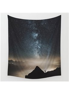 Galaxy Stars and Universe and Small People Pattern Decorative Hanging Wall Tapestry