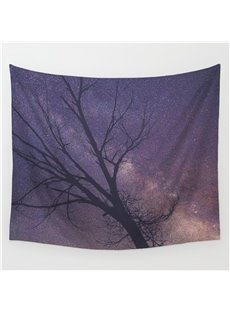 Winter Purple Galaxy Space and Tree Branches Decorative Hanging Wall Tapestry