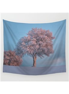 Snowy Covered Trees and Ground Pattern Decorative Hanging Wall Tapestry