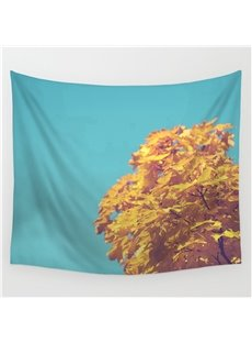 Yellow Maple Trees Pattern Blue Decorative Hanging Wall Tapestry