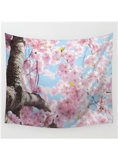 Pink Sakura Blossom Pattern Decorative Hanging Wall Tapestry