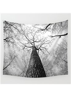 Misty Winter Forest with High Trunk Pattern Gray Decorative Hanging Wall Tapestry