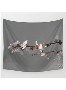 Branch of Peach Blossom Pattern Gray Decorative Hanging Wall Tapestry