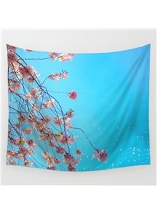 Strings of Pink Flowers Pattern Blue Decorative Hanging Wall Tapestry