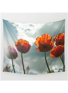 Orange Corn Poppies under Sunshine Pattern Decorative Hanging Wall Tapestry