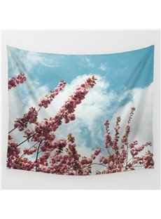Cherry Blossom into Blue Sky and White Cloud Decorative Hanging Wall Tapestry