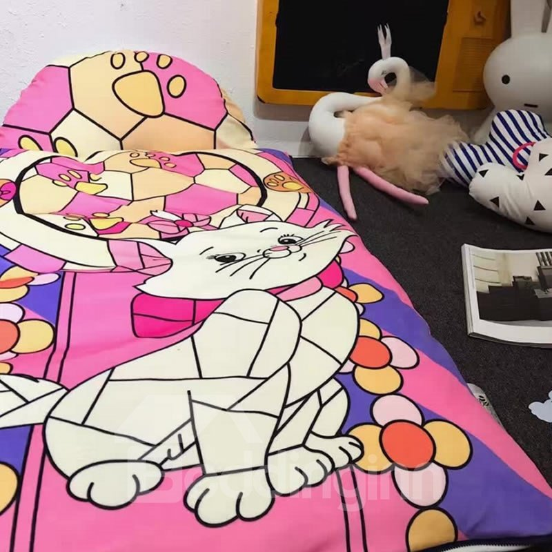 Cat Cotton Cute Style 3-Piece Pink Baby Sleeping Bag