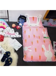 Rabbit Printed Cotton Cute Style 3-Piece Pink Baby Sleeping Bag