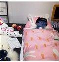 Rabbit Printed Cotton Cute Style 3-Piece Pink Baby Sleeping Bag