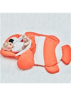 Clown Fish Shape Cotton 1-Piece Orange and White Baby Sleeping Bag