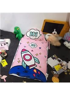 Rocket Printed Cotton Cute 3-Piece Pink Baby Sleeping Bag