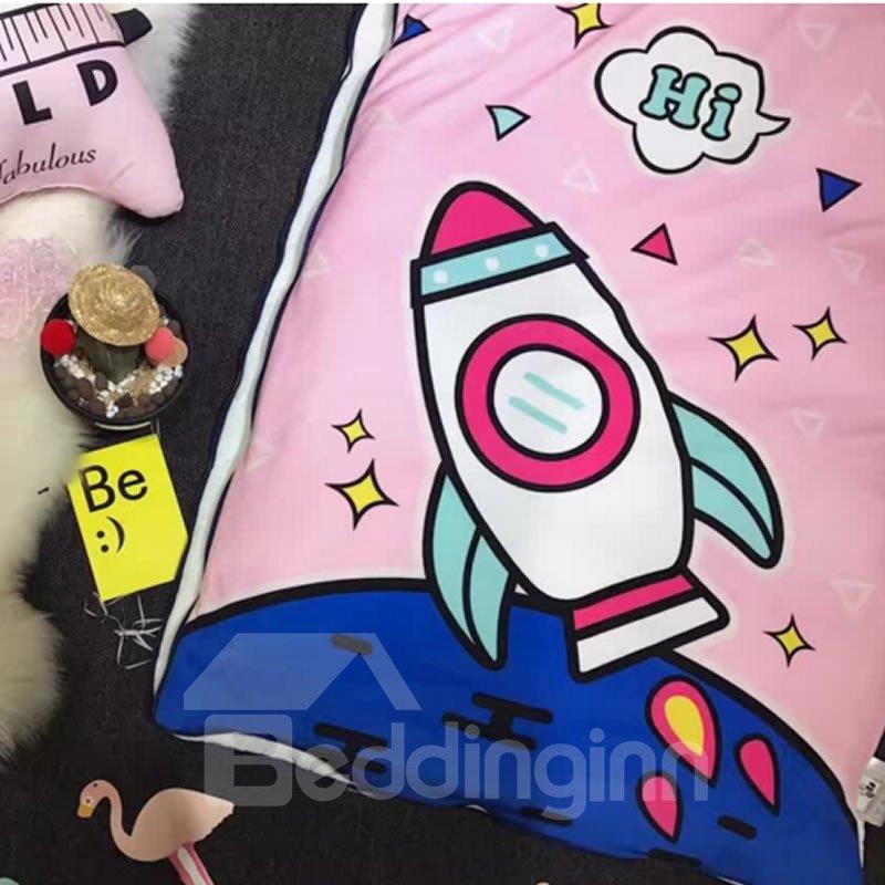 Rocket Printed Cotton Cute 3-Piece Pink Baby Sleeping Bag