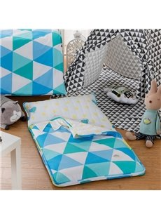Geometric Pattern Cotton 1-Piece Blue and White Sleeping Bag