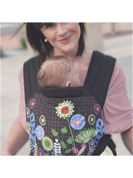 Flowers Pattern Simple Style Cotton Brown Baby Carrier