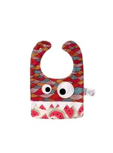 10.23*7.09in Eyes Decoration Cute Cotton Red Baby Bib