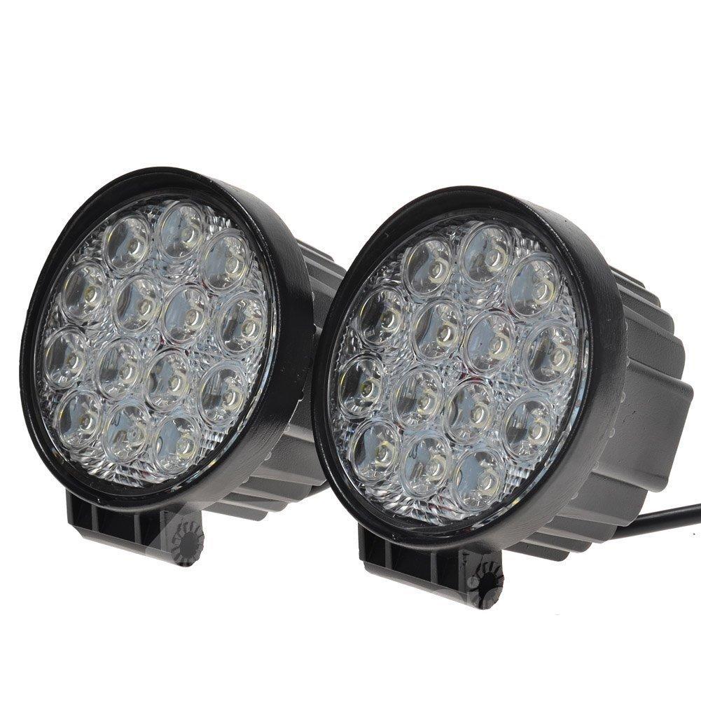 2 pcs 42W 60 Degree Round LED Flood/Spot Light Off Road Lighting