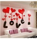 3D Love and Heart Shapes Acrylic Waterproof Sturdy and Eco-friendly Wall Stickers