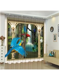 3D Bright Colored Parrots Flying in Dreamy Palace Printed Living Room Window Curtain