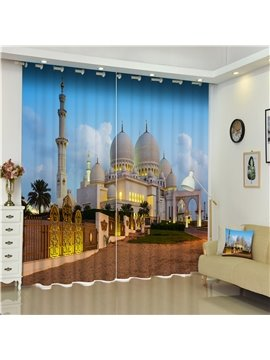 3D Resplendent and Glorious Castles Printed Noble and Royal Buildings Polyester Curtain