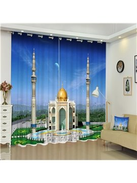 Wonderful Islamic Mosque Thick Polyester 2 Pieces Decorative Living Room Window Curtain