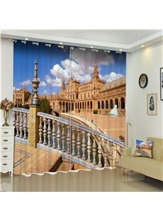 Glorious Plaza of Spain Printed Thick Polyester 2 Pieces Decorative and Shading Curtain