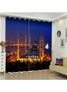 3D City Night Scenery Luxury Buildings Printed Living Room and Bedroom Decorative Curtain