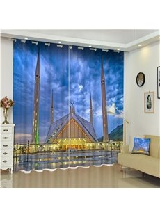 3D Luxury and Palatial Castles Printed Architectural Landscape 2 Panels Decorative Curtain