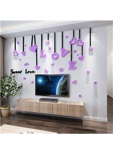 3D Sweet Love Acrylic Waterproof Sturdy and Eco-friendly Wall Stickers