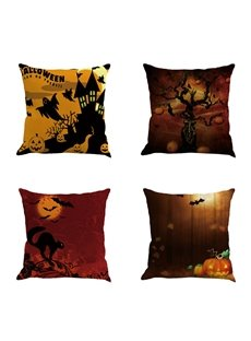 Halloween Night Scene and Bats Pattern Linen Square Throw Pillow