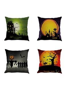 Halloween Moon Sky and Pumpkin Pattern Decorative Linen Throw Pillow