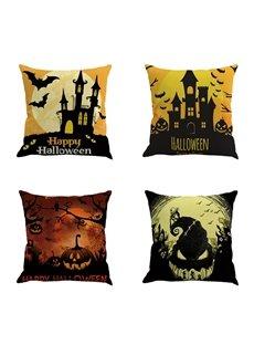 Halloween Festival Night Bat and Pumpkin Decorative Linen Throw Pillow