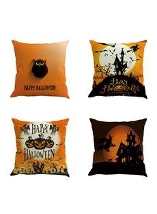 Halloween Festival Owl and Pumpkin Decorative Linen Throw Pillow