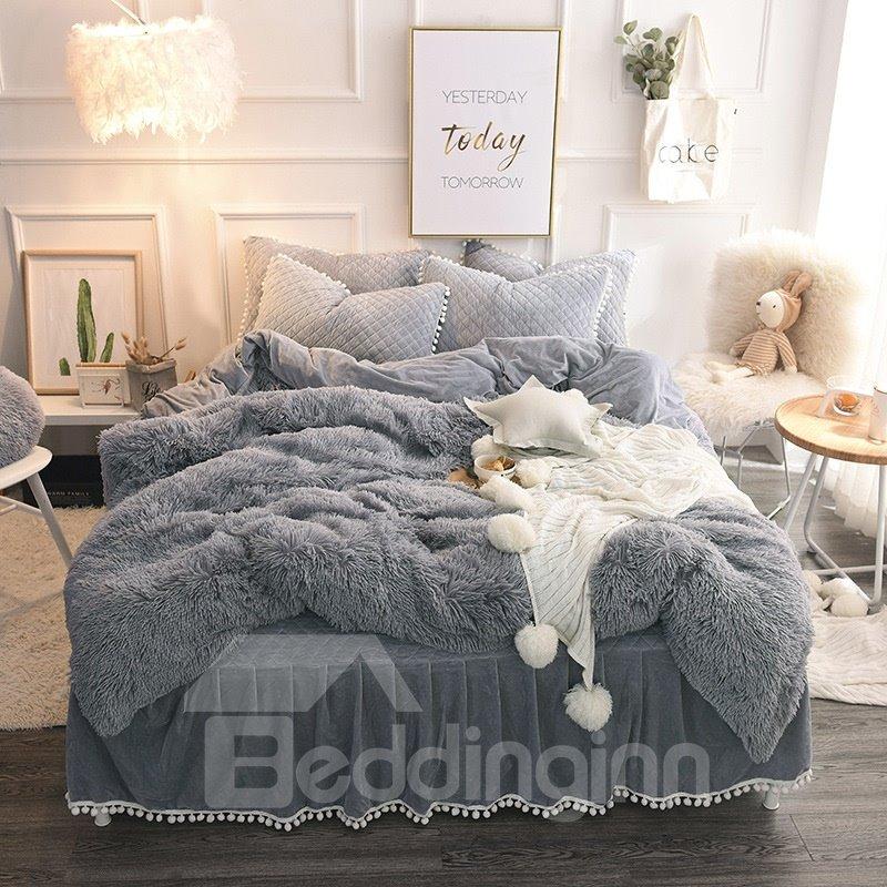 Fluffy Solid Gray Lightweight Warm Bed Skirt 4pcs Duvet Pic