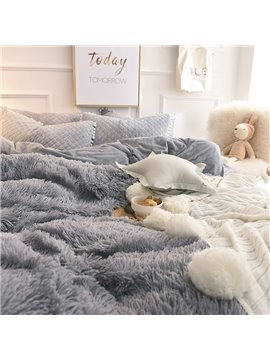 Fluffy_Solid_Gray_Quilting_Bed_Skirt_4Piece_Bedding_SetsDuvet_Cover
