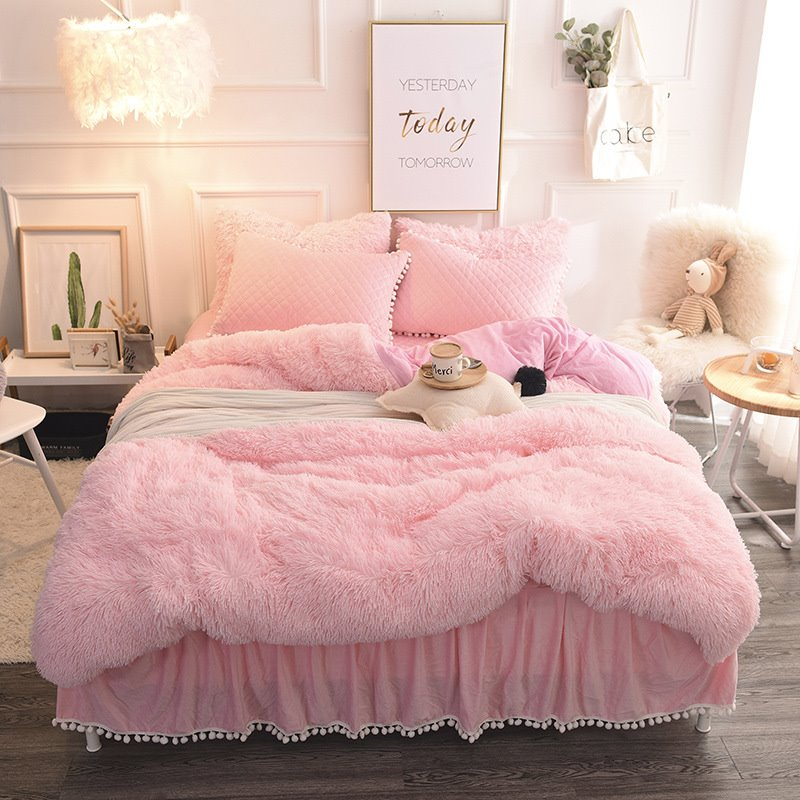 Winter Soft And Warm Pink Thick Plush Mink Wool Bed Skirt 4-Piece Fluffy Bedding Sets