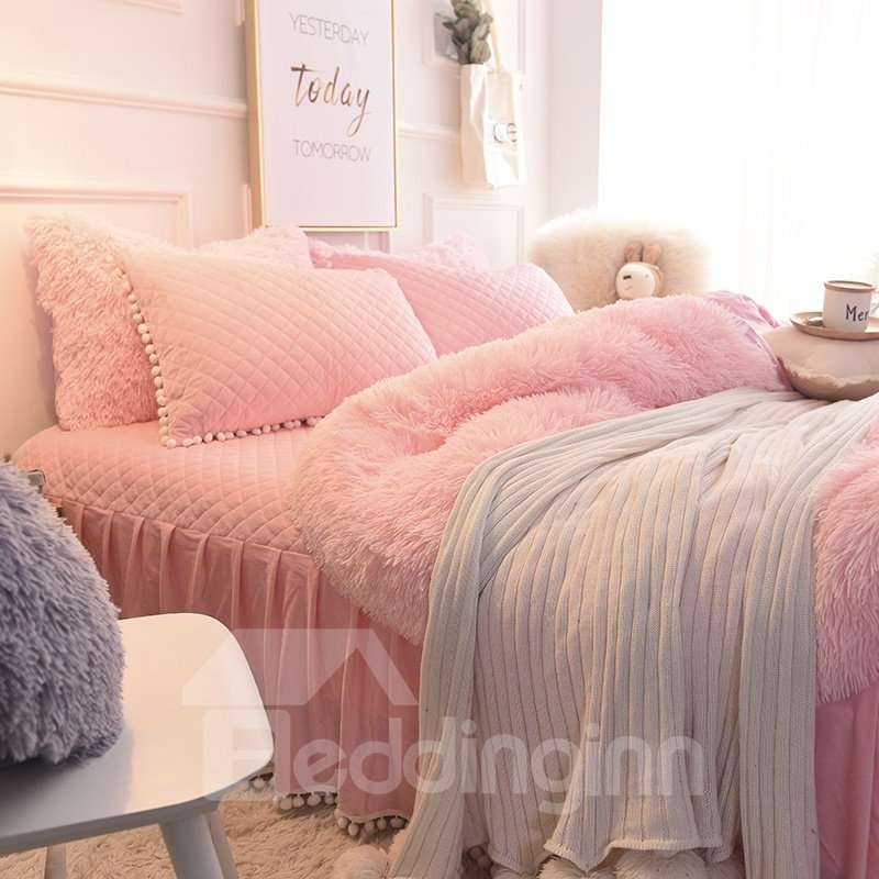 Beddinginn Solid Pink Quilting Bed Skirts Thick Fluffy Bedding Sets Style