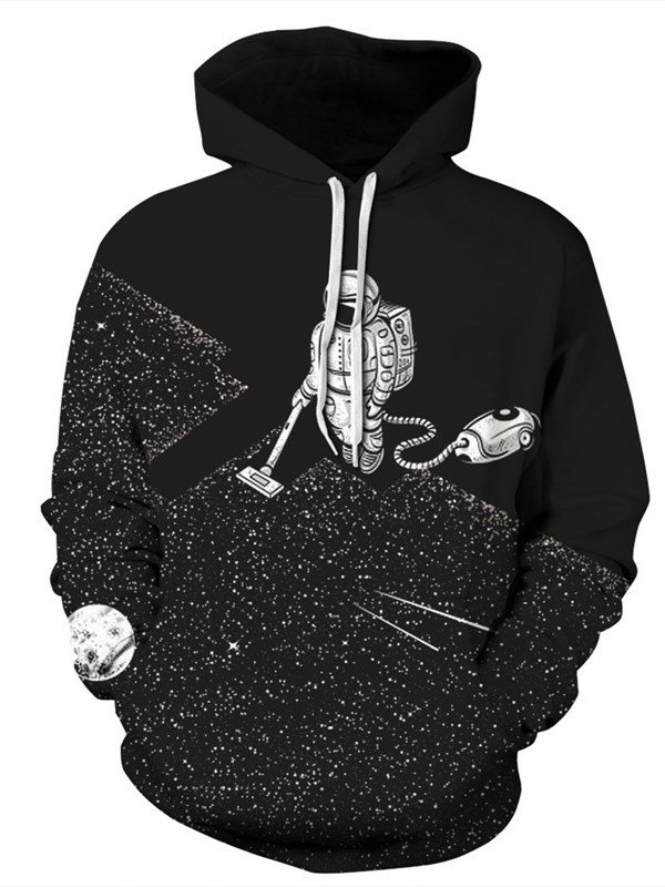 Long Sleeve Robot Cleaning the Floor Pattern 3D Painted Hoodie